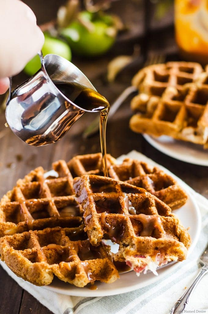Your breakfast just got better with these apple bread waffles