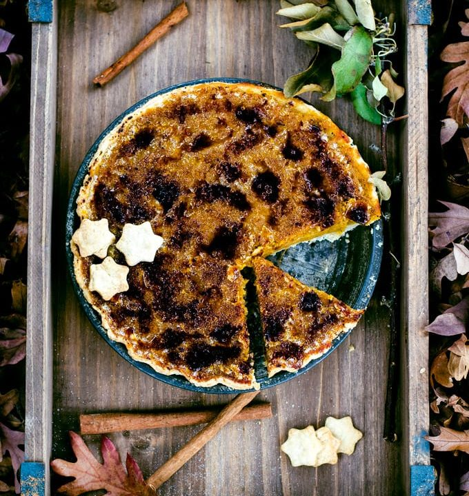 Impress your family with an aromatic and show stopping brûléed butternut squash pie with a brown butter bourbon pie crust. The perfect dessert for Thanksgiving dinner!
