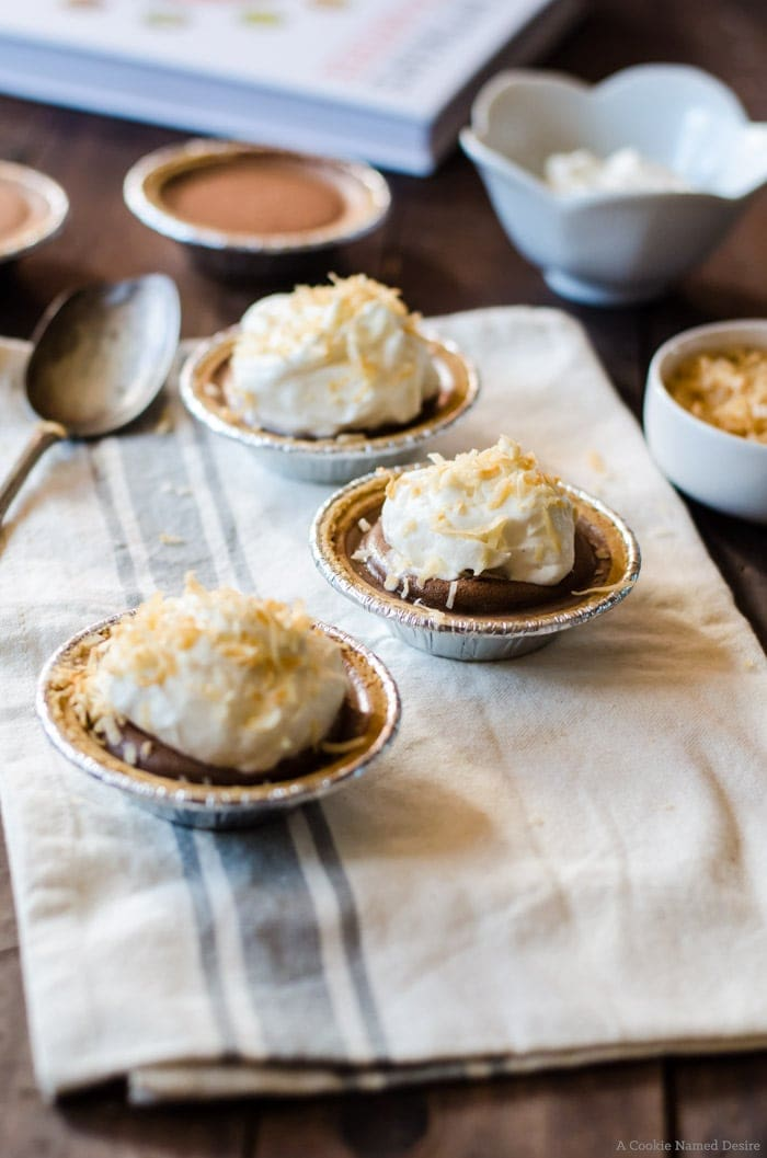 Chocolate pudding pies with toasted coconut. A delicious no back dessert