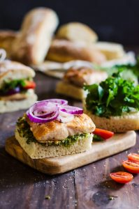 Such an easy and delicious recipe for chicken and pesto sandwiches!