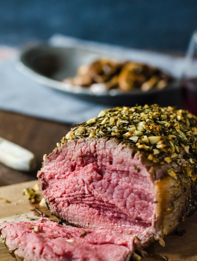 Garlic and Rosemary crusted rib eye roast and mushrooms make the perfect dinner.