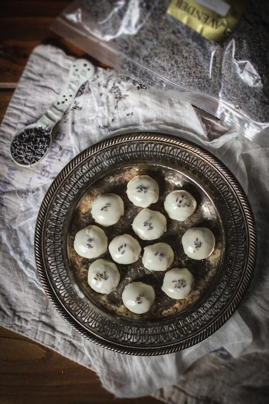 lavender almond white chocolate truffles