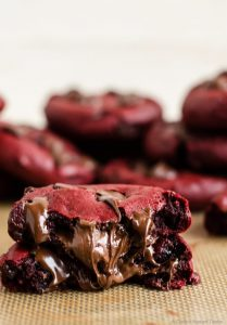 Nutella-stuffed red velvet chocolate chip cookies