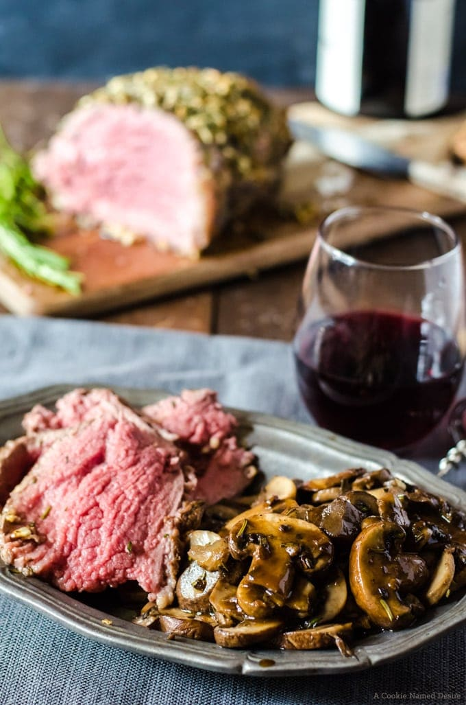 Rib eye roast with mushrooms