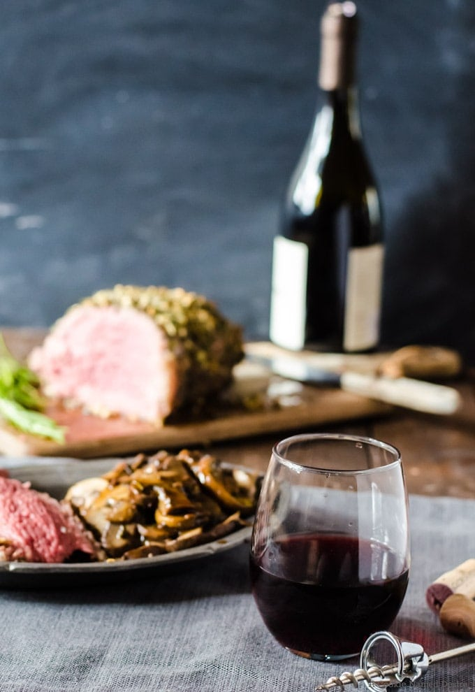 Rioja wne with garlic rosemary rib eye roast
