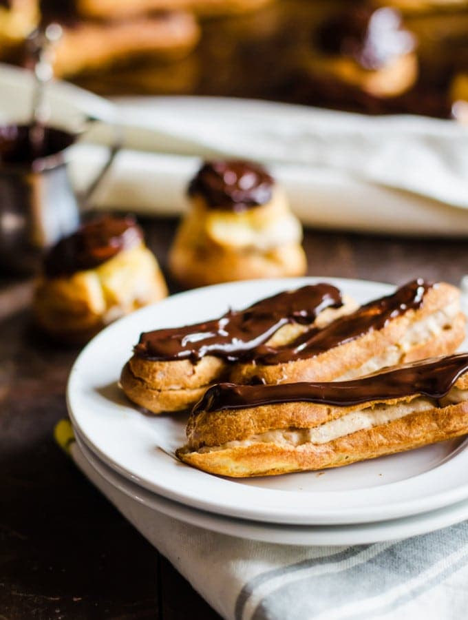 Chestnut Cream Eclairs and Profiteroles
