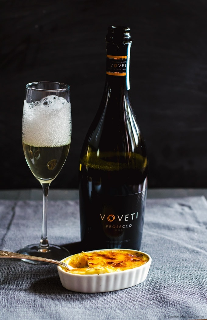 The perfect pair: VOVETI sparkling wine and white chocolate creme brulee with a luscious blackberry jam bottom