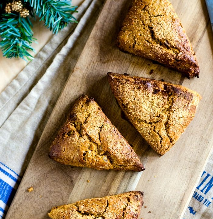 Easy gingerbread scones with triple the ginger for a welcomed punch of flavor