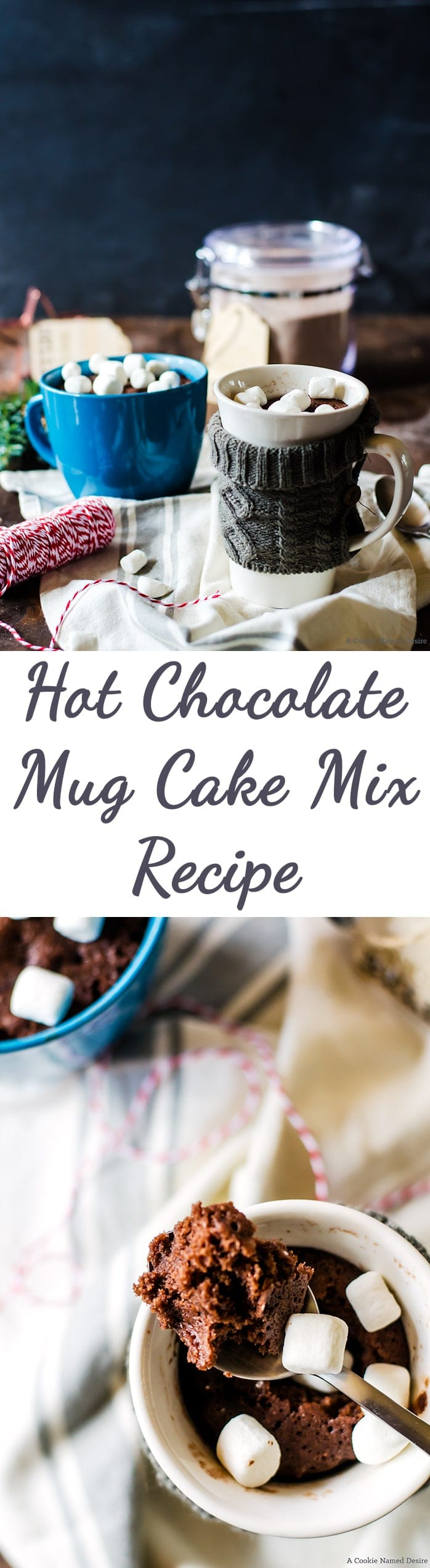 The perfect Christmas gift for anyone! This hot chocolate mug cake mix is the perfect dessert gift anyone would appreciate.