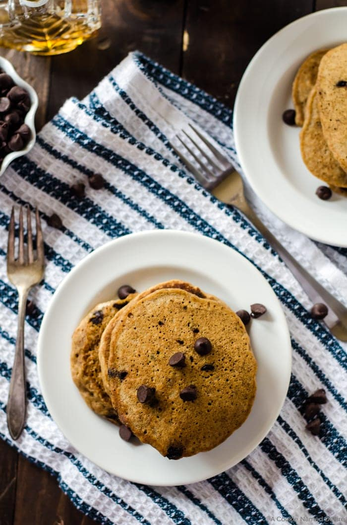 Healthy, fluffy whole wheat chocolate chip pancakes. You won't ever want another pancake for breakfast again