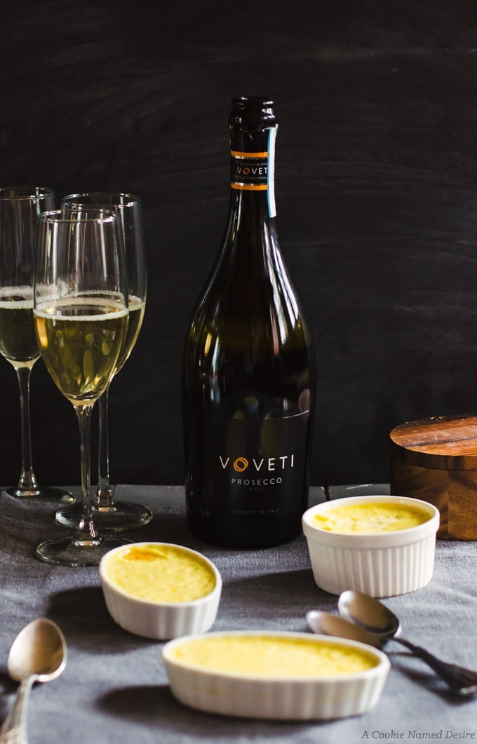 VOVETI wine with white chocolate creme brulee and blackberry jam