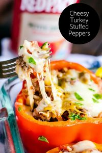 close up cheesy turkey stuffed peppers