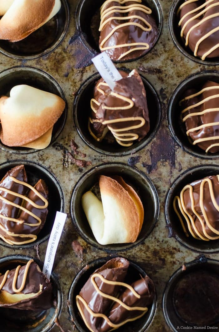 Chocolate peanut butter homemade fortune cookies. These delicious little cookies are a cinch to make and so much fun to eat. Perfect for Chinese New Year!