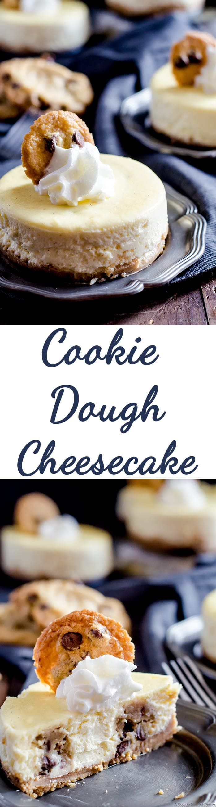 Mini Chocolate Chip Cookie Dough Cheesecakes.... velvety smooth vanilla cheesecakes stuffed with chocolate chip cookie dough. Topped with fresh whipped cream and a mini chocolate chip cookie. The ultimate dessert-lovers treat
