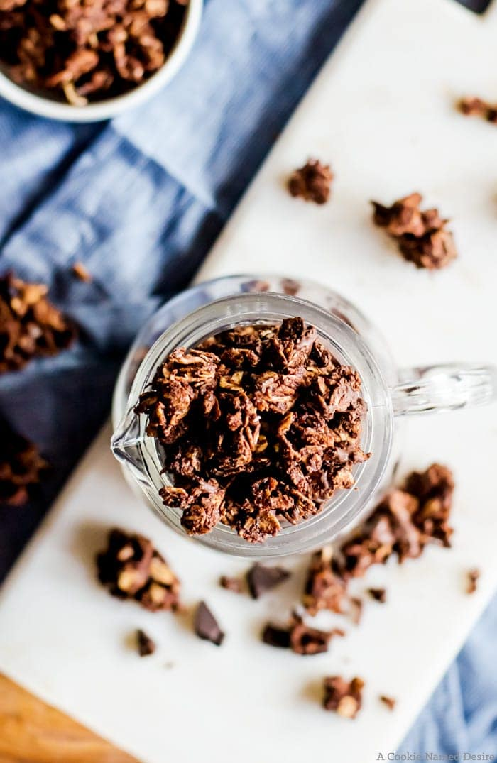 This chocolate coconut granola is so simple to make and utterly delicious. It is the perfect balance of chocolate and coconut. Perfect recipe for breakfast, dessert, and everyday snacking