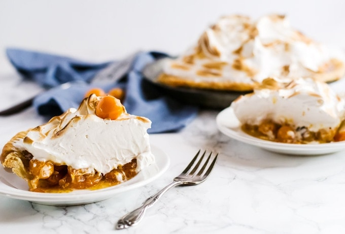 A deliciously unique cape gooseberry pie with a mile high meringue