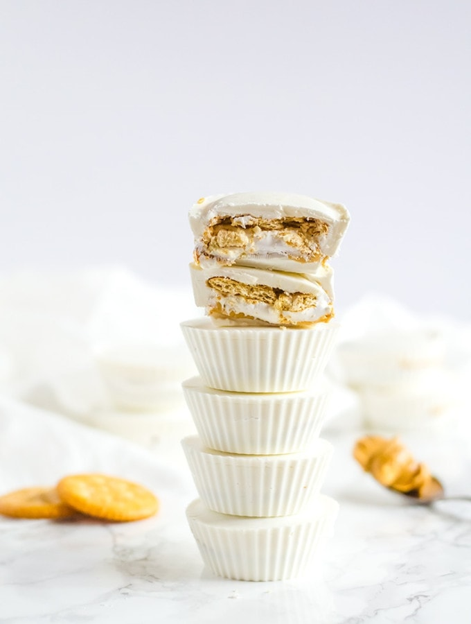 Ritz and marshmallow fluff peanut butter cups. This deliciously simple candy will be your new obsesseion