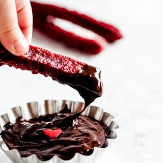 Red velvet churros with two different kinds of dips