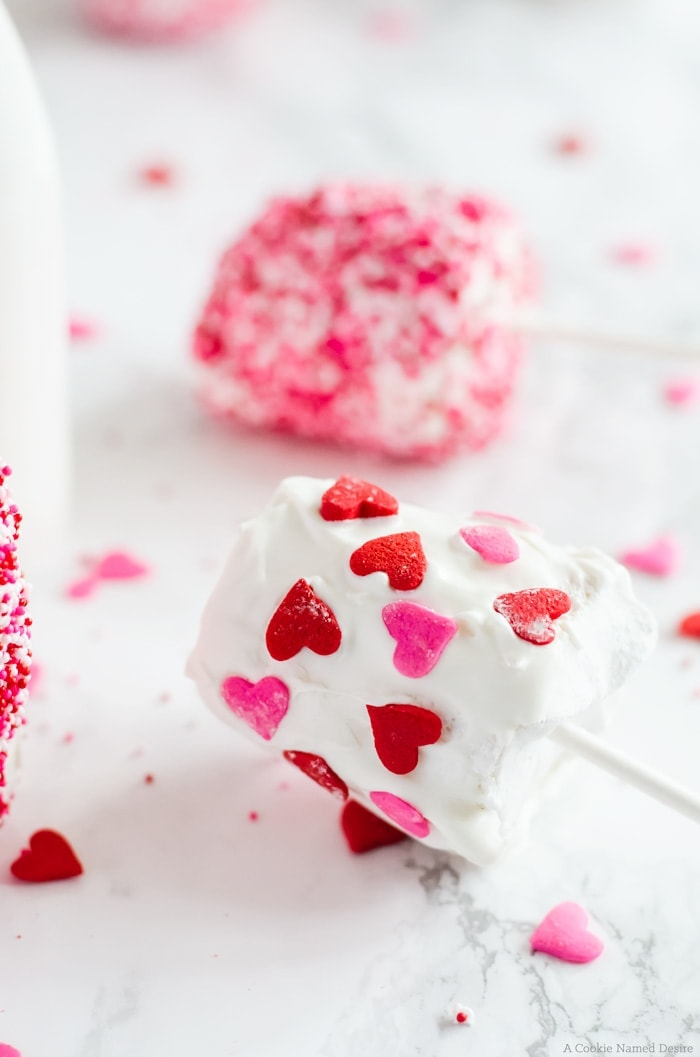 These homemade marshmallows are fun to make and even more fun to eat! They are covered in white chocolate and covered in sprinkles