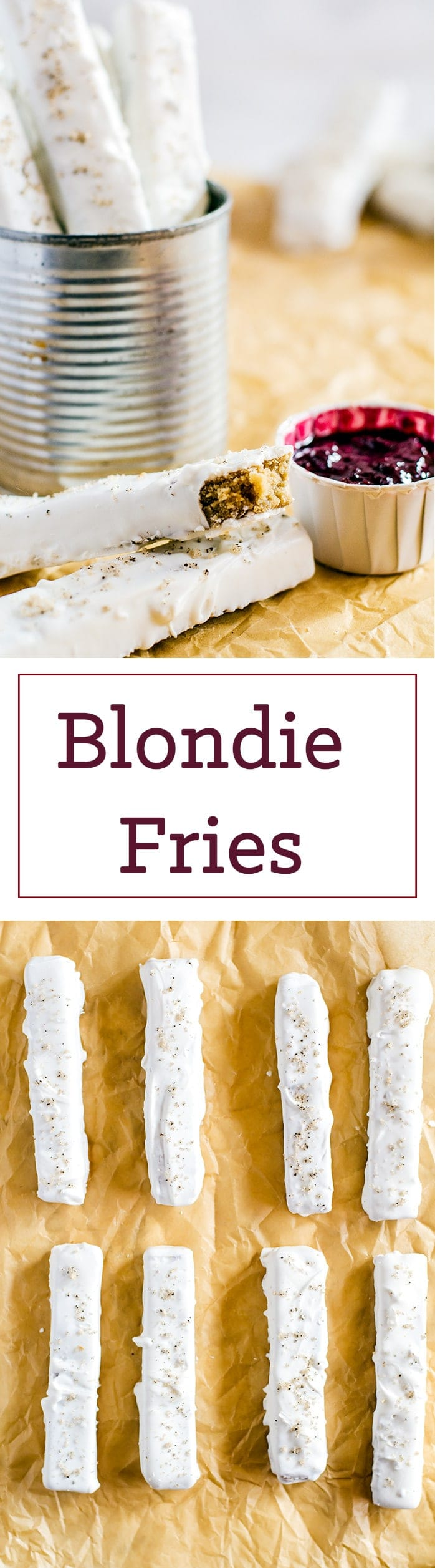 Fudgy, aromatic blondies taste like a bite of butterscotch from a sweet balance of brown butter and brown sugar. Cut up into slices, dipped in white chocolate, and sprinkled with a vanilla-infused salt to make blondie fries aka your new addiction.