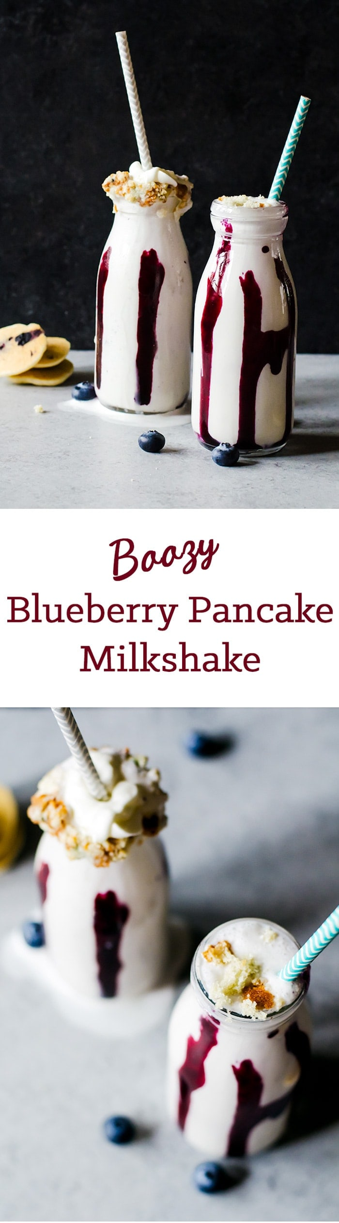 This boozy blueberry pancake milkshake tastes exactly like a blueberry pancake. Now have breakfast for dessert and have a little fun, too!