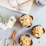 Light and fluffy carrot cake muffins with crumb topping. These muffins have the perfect blend of sweetness, spice, and lots of crumb topping.