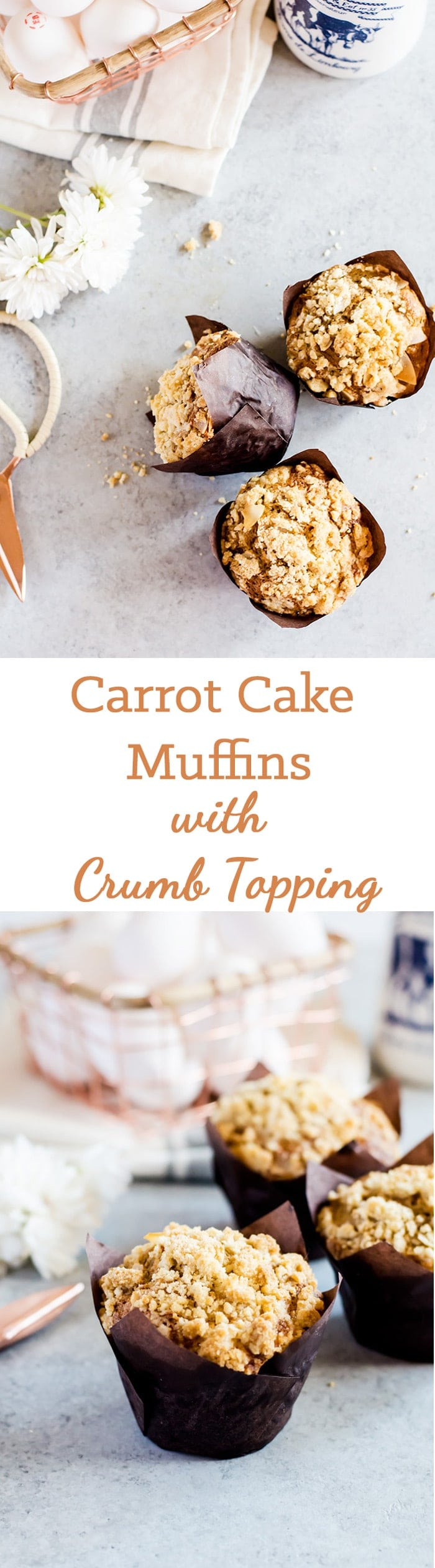 Lightly sweet and fully fluffy carrot cake muffins with crumb topping