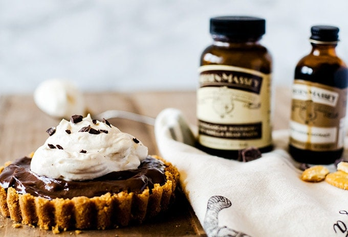 Chocolate Pudding Tarts with Cracker Crust