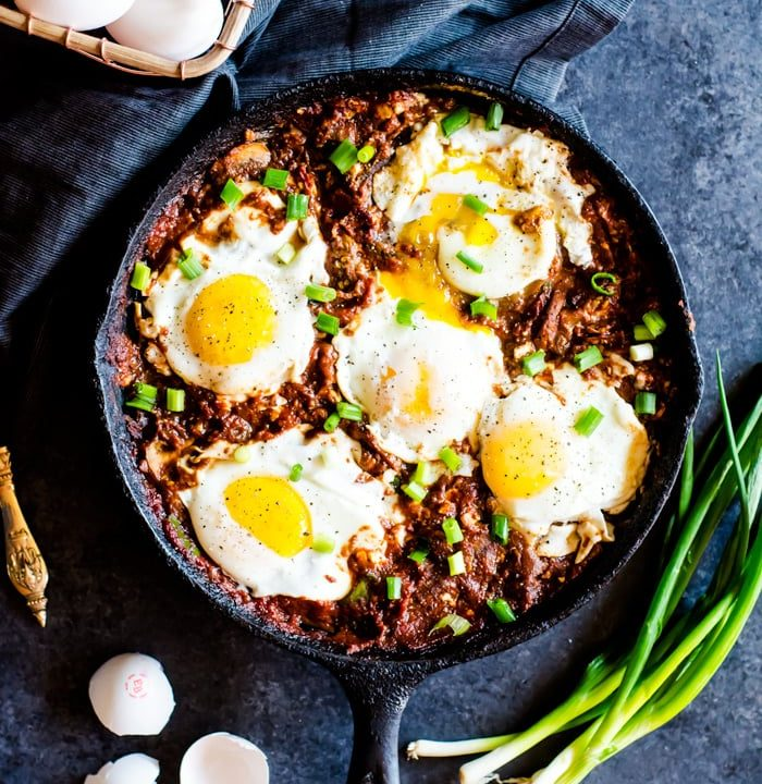 A chunky vegetable shakshuka unlike any traditional eggs in hell dish. This version is full of hearty flavorful vegetables mix in the spicy tomato base for a breakfast that will keep you fuller for longer. Feta is studded throughout the dish for an added salty twist.