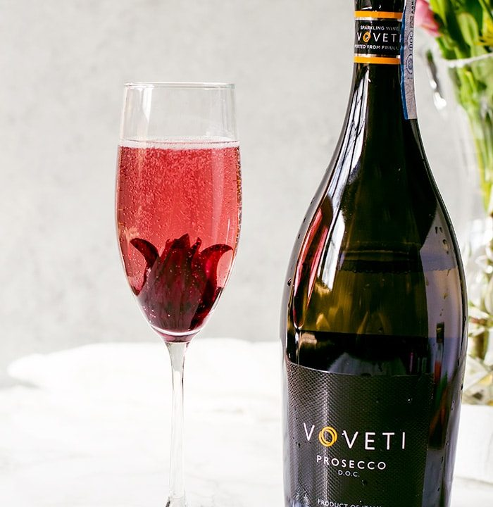 This hisbiscus rose prosecco is an elegantly simple and visually stunning cocktail your guests will love. The delicate flavors and gorgeous hue embody everything wonderful about spring.