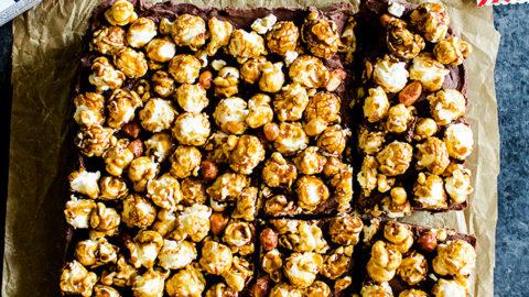 Chocolate Caramel Fudge with Cracker Jack Popcorn