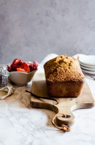 A rich and nutty pistachio pound cake recipe topped with vanilla lavender strawberries and fresh whipped cream. This is a wonderful dessert to enjoy in the evening with a cup of coffee.