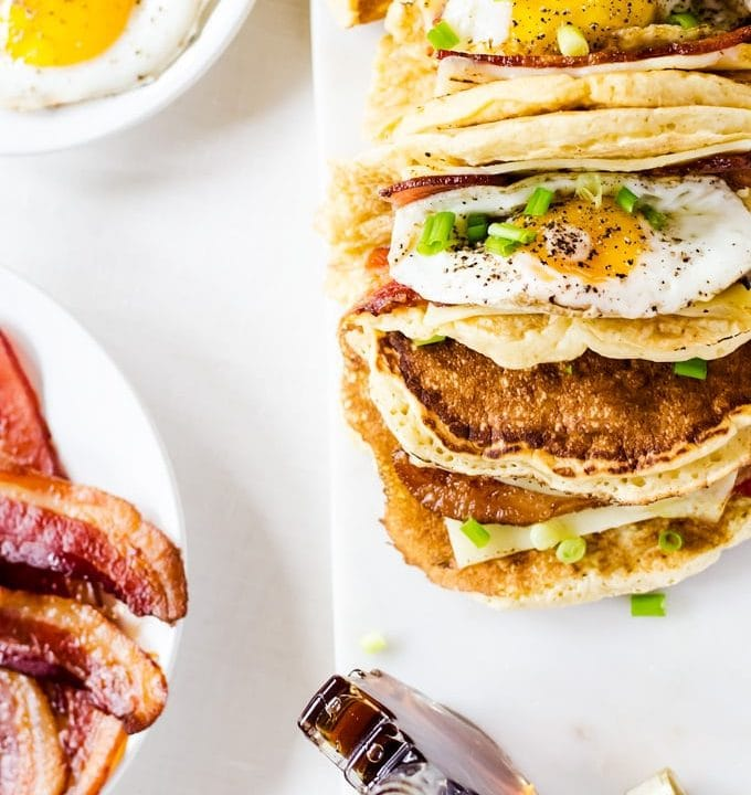 american breakfast tacos pacos with bacon and maple syrup