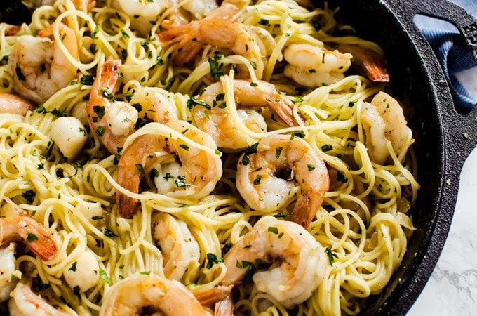 There is nothing better than seeing you are actually having brown butter shrimp scampi with scallops on a weeknight. This pasta dinner recipe is so easy, you will want to make it every week!