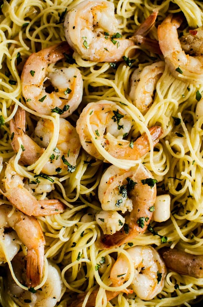 Everyone will love this brown butter shrimp scampi with scallops. It hits every mark. Easy, Delicious. Filling.