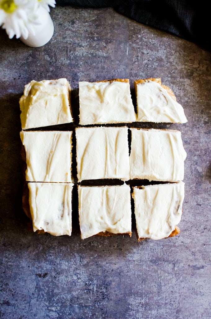 Decadent and fudgy white chocolate brownies with a cream cheese frosting. You won't be able to stop at just one!