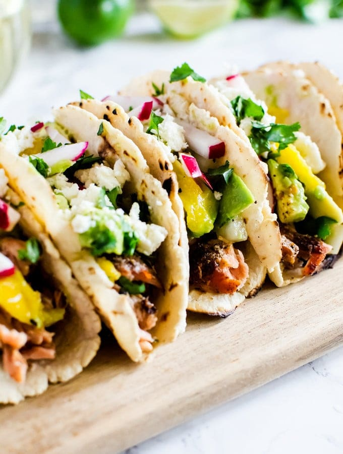 Salmon Tacos with Avocado Mango Salsa