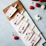 Lychee Cherry Frozen Yogurt Popsicles