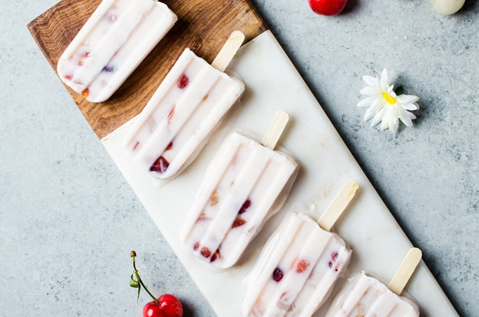 I am in love with these lychee cherry frozen yogurt popsicles. These are definitely my new summer favorite.