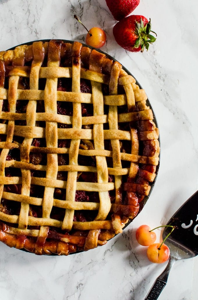 A classic strawberry cherry pie that will make all your dessert dreams come true