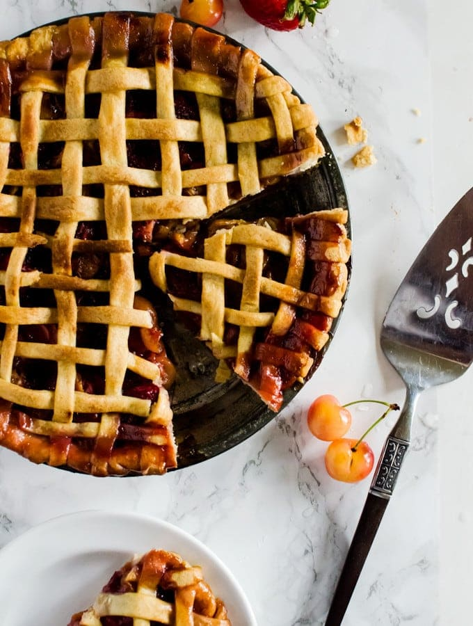 A foolproof strawberry cherry pie that is perfect on its own or with a nice scoop of ice cream