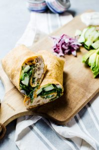 A tasty Greek tuna wrap that makes an incredibly easy and healthy lunch - kid approved!
