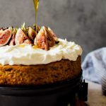 Honey cake with figs and whipped mascarpone