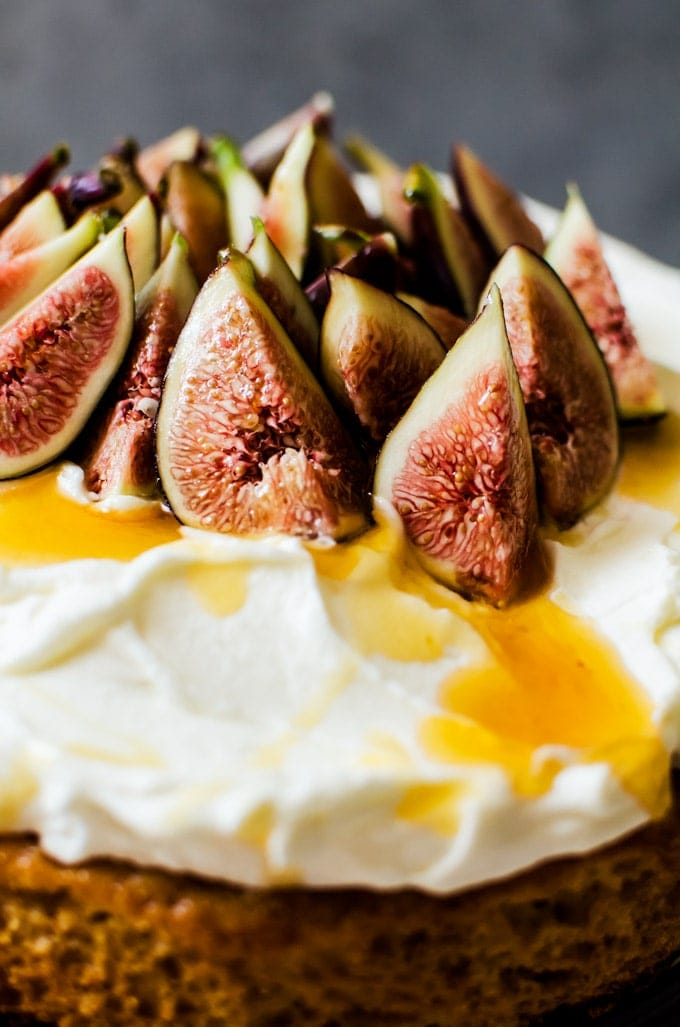 A delicious and exotic honey cake with whipped mascarpone and figs