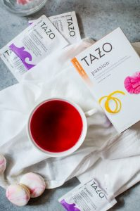 "Sip Joyfully with Tazo teas anytime of day. Pair with a macaron to turn it into a special ""me"" moment."