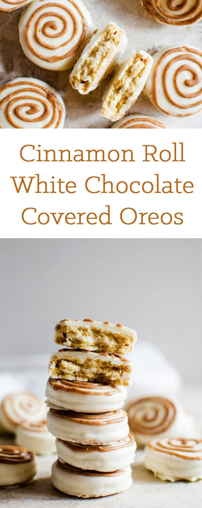 Irresistible cinnamon roll white chocolate covered oreos