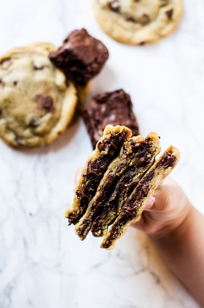 Try and resist these brownie stuffed chocolate chip cookies. They are crisp on the outside, with a chewy, gooey chocolate chip/brownie middle.