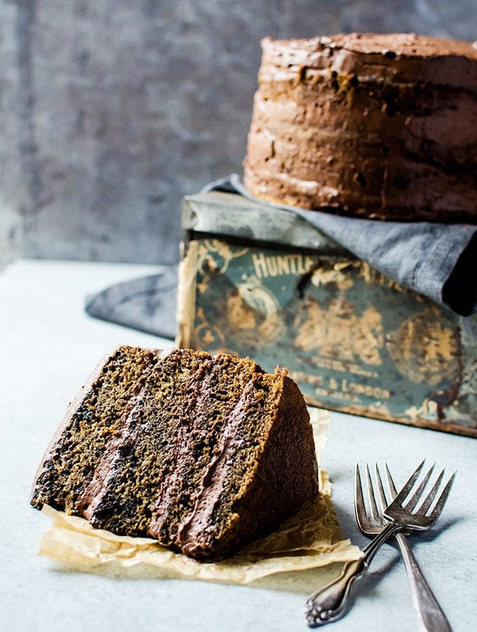 Coffee Flavored Cake with Whipped Mocha Ganache