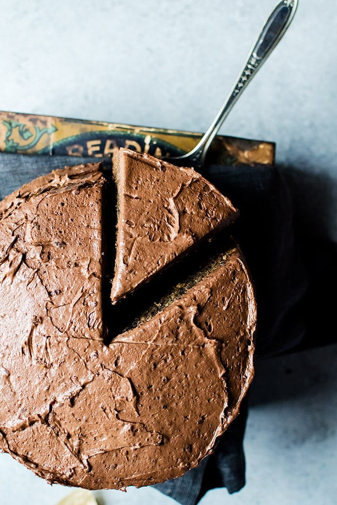 No one will be able to resist this coffee flavored cake with whipped mocha ganache