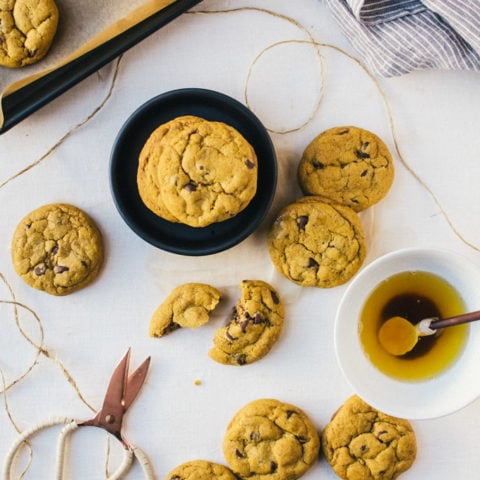 There is nothing like a warm, chewy brown butter pumpkin chocolate chip cookie with crisp buttery edges to make your day better